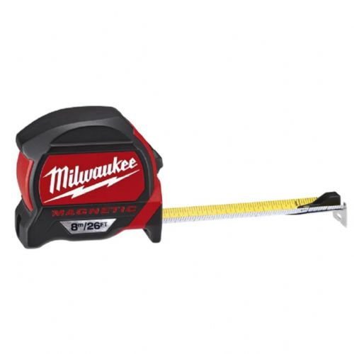 Milwaukee 48227225 Premium Magnetic Tape Measure 8m/26ft (Width 27mm)